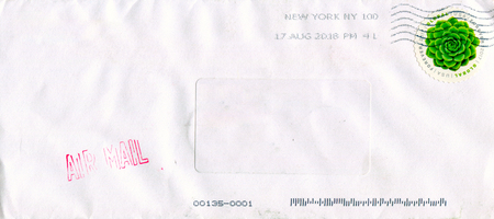GOMEL, BELARUS - AUGUST 17, 2018: Old envelope which was dispatched from USA to Gomel, Belarus, August 17, 2018. Editorial