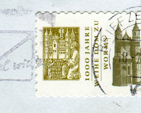 GOMEL, BELARUS, 15 AUGUST 2018, Stamp printed in Germany shows image of The St Peter's Dom is a church in Worms, southern Germany, circa 2018.
