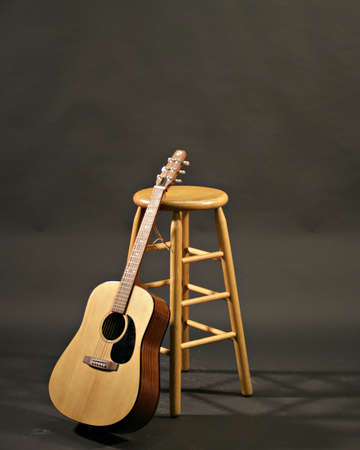 rosewood: guitar and stool before concert