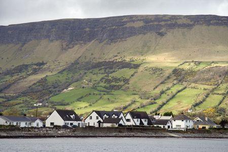Irish cottages and landscape Stock Photo