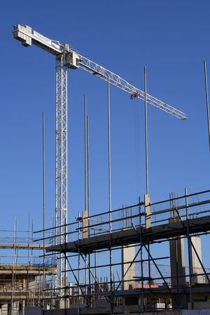 substructure: Crane and scaffolding Stock Photo