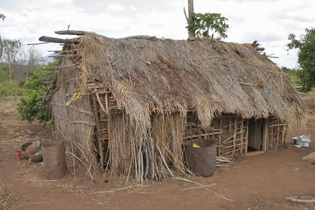 huts: Mudhut in Tanzania Stock Photo