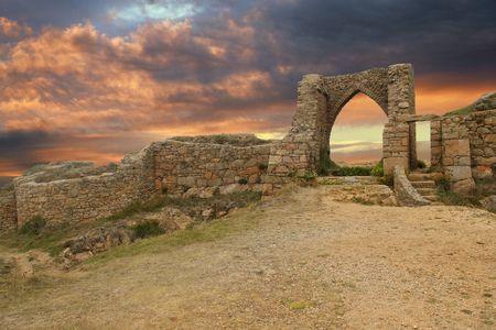gateway: Ancient castle at dusk Stock Photo
