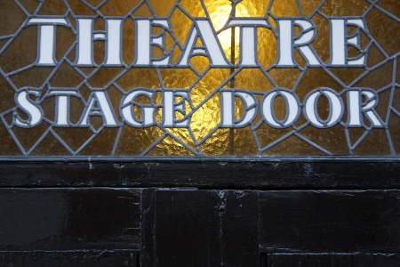 theater sign: Stage door Stock Photo