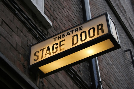 theater sign: Stage door Foto de archivo