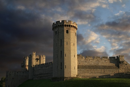Warwick castle at sundown