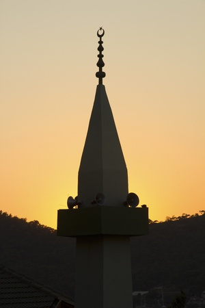 mohammed: Mosque in silhouette