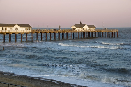 southwold: Southwold pier at dusk Stock Photo