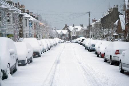 bad weather: Snowy street