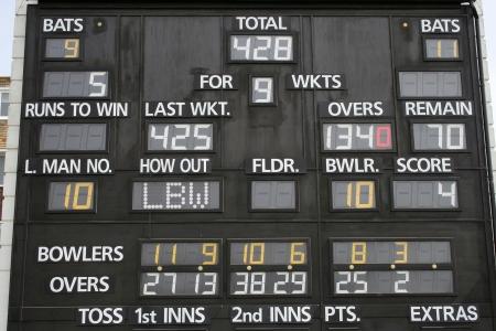 cricket: Cricket scoreboard Archivio Fotografico