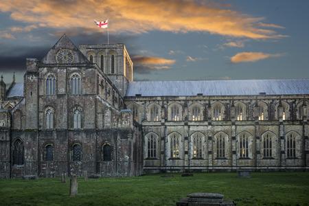 winchester: Cattedrale di Winchester al tramonto Archivio Fotografico