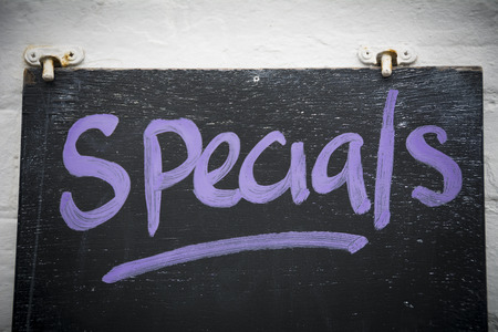 Specials on blackboard