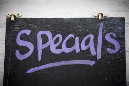 Specials on blackboard