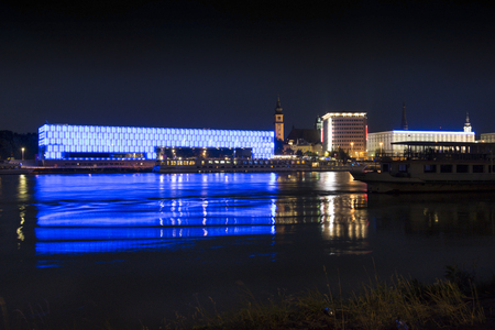 linz: Linz and Danube by night Editorial