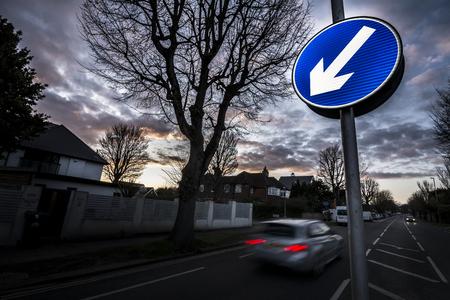 suburban: Suburban road at dusk