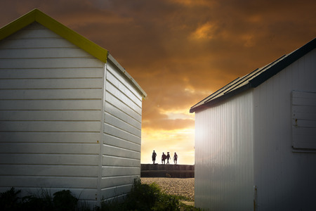 walkers: Beach huts and walkers
