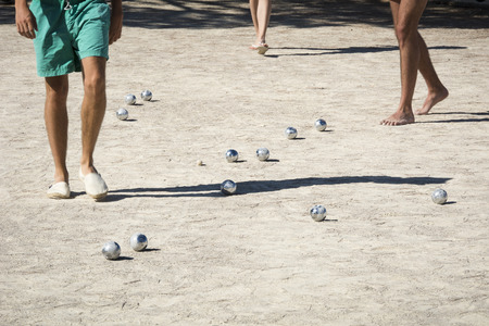 bowl game: Playing boules in France Stock Photo