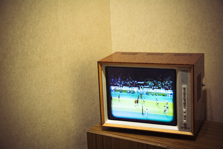 programme: Vintage television set with room for text on background Stock Photo