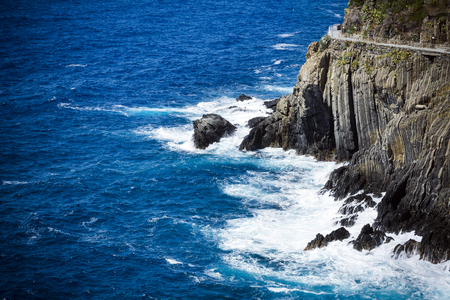 Cliff path and sea in Cinque Terre Italy Stock Photo
