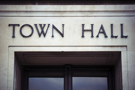 Town hall sign at local government office Stock Photo