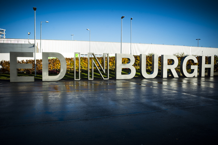 Edinburgh sign greeting visitors in the Scottish capital