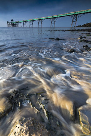 Incoming tide at Clevedon on Somerset coast