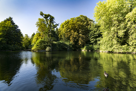 Lake and greenery at Christchurch park in Ipswich Suffolk