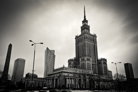 Warsaw Palace of Culture and Science in Polish capital 에디토리얼