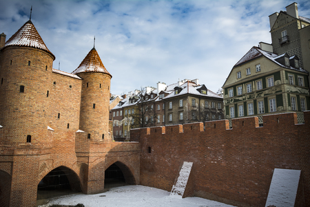 Warsaw city wall by Podwale Street in the Polish capital