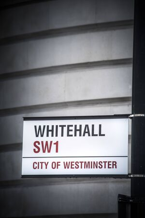 Whitehall street sign in Westminster central London