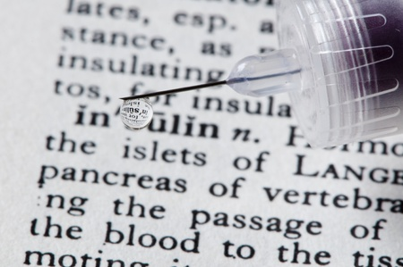 endocrinology: insulin description with insulin dripping on it