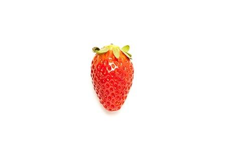Single strawberry on white background