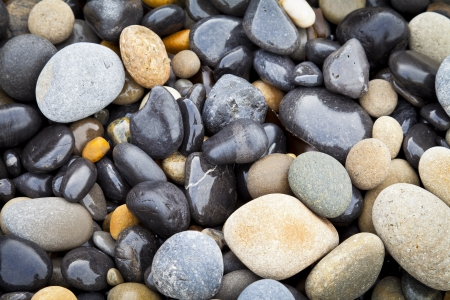 Wet stones on beach