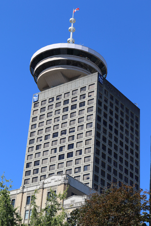 Downtown Vancouver, British Columbia, Canada, looking toward Harbour Centre. Standard-Bild - 105960826
