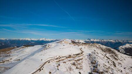 Drone view of Mountains in Cima Grappa, italy Archivio Fotografico