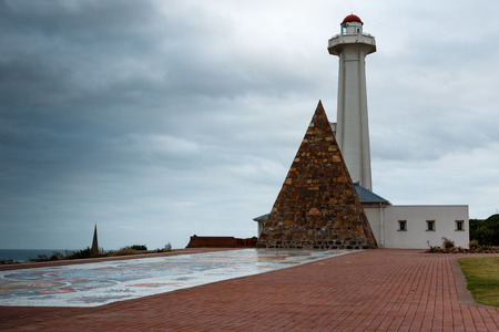 Donkin Reserve Lighthouse on a cloudy day in Port Elizabeth, South Africa.