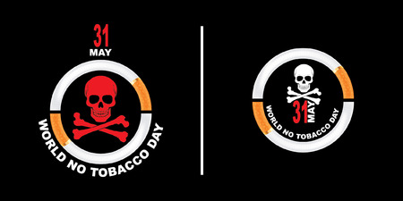 Vector illustration May 31st World No Tobacco Day.  The day is further intended to draw attention to the widespread prevalence of tobacco use and to negative health effects. Vectores