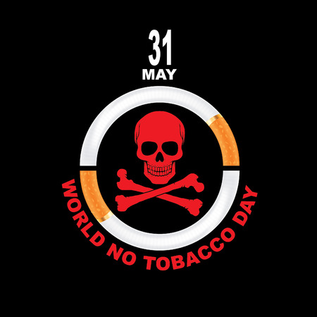 Vector illustration May 31st World No Tobacco Day.  The day is further intended to draw attention to the widespread prevalence of tobacco use and to negative health effects. Ilustrace