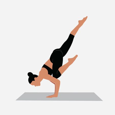 A woman workout yoga, female fitness instructor demonstrates a yoga position, vector image.