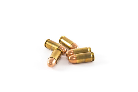 45 caliber: Five cartridges caliber 45 ACP Stock Photo