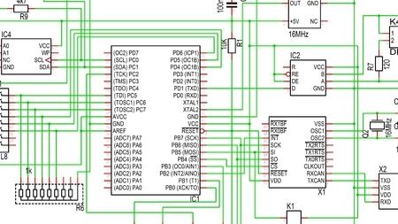 マイクロ コント ローラーと他の部分を示す、色で回路図の部分 写真素材