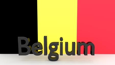 made in belgium: Writing Belgium made of dark metal  in front of a dutch flag