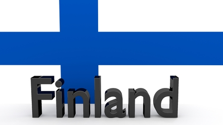 finnish: Writing Finland made of dark metal  in front of a finnish flag Stock Photo
