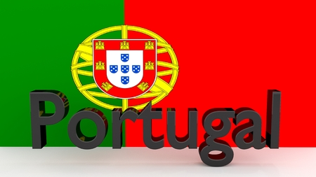 made in portugal: Writing Portugal made of dark metal  in front of a portugese flag Stock Photo