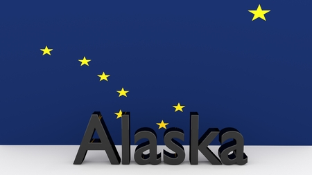senators: Writing with the name of the US state of Alaska made dark metal in front of state flag