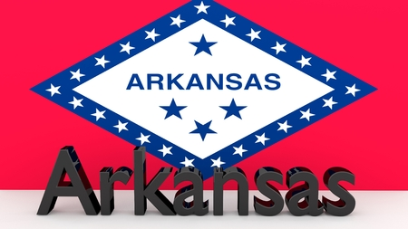 senators: Writing with the name of the US state of Arkansas made dark metal in front of state flag