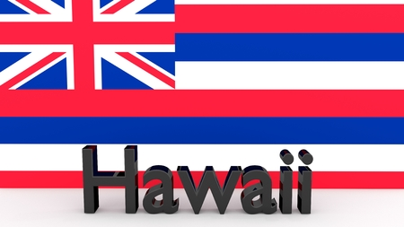 senators: Writing with the name of the US state of Hawaii made of dark metal in front of state flag