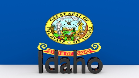 senators: Writing with the name of the US state of Idaho made dark metal in front of state flag