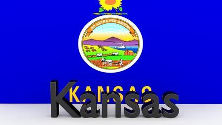 senators: Writing with the name of the US state of Kansas made dark metal in front of state flag Stock Photo