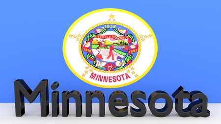 senators: Writing with the name of the US state Minnesota made of dark metal  in front of state flag Stock Photo